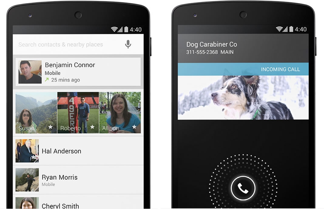 Android 4.4(KitKat)で電話アプリの利便性が向上、未登録番号からの着信