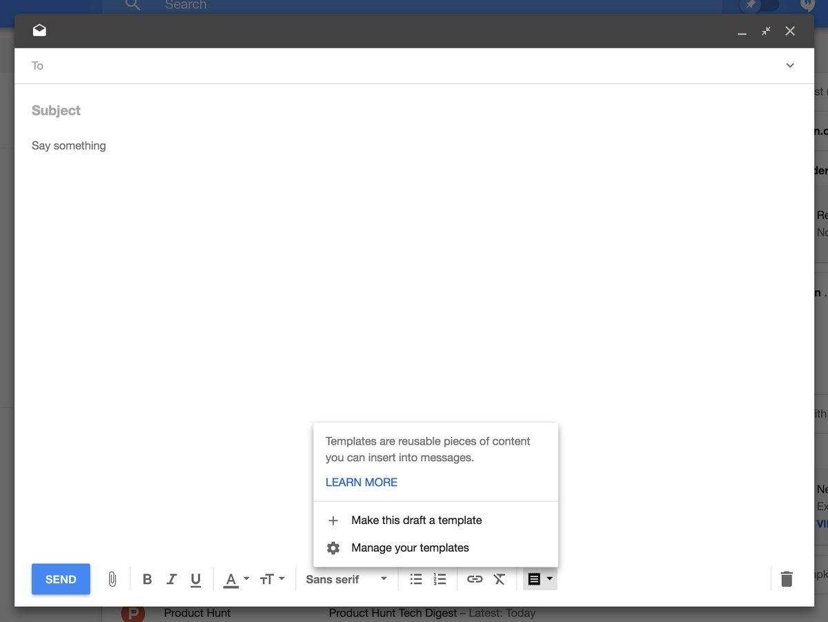 google web版 inbox by gmail にテンプレート機能を追加