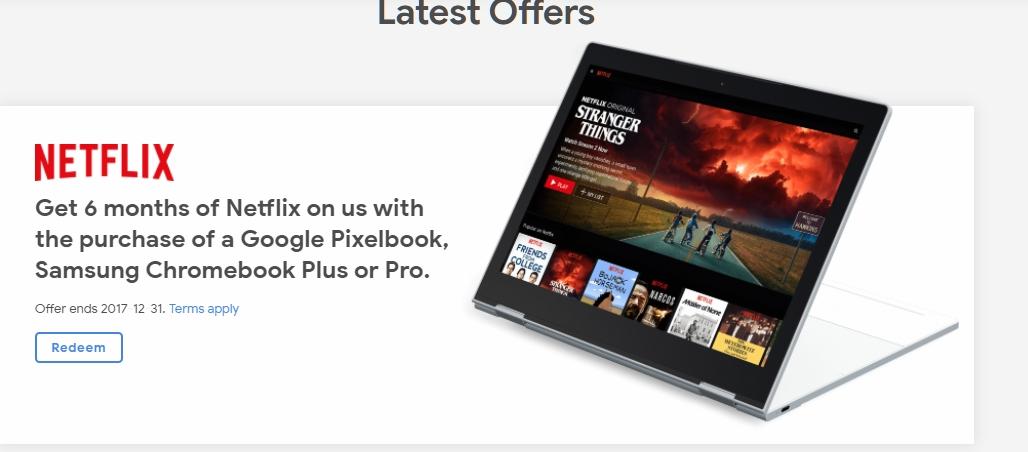 Google が一部の Chromebook を購入した方を対象に、Netflix の 6 ヶ月無料特典や Google Play の $20  クーポン、Google ドライブの 100GB ストレージ無償提供(2 ...